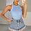 Thumbnail: CINDY Blue Premium Pink Aztec Ribbed Bodysuit