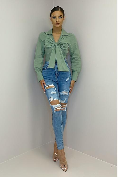 NANCY Sage Green Bow Front Shirt
