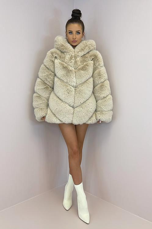 IVY Beige 5 Tier Luxury Faux Fur Hooded Coat
