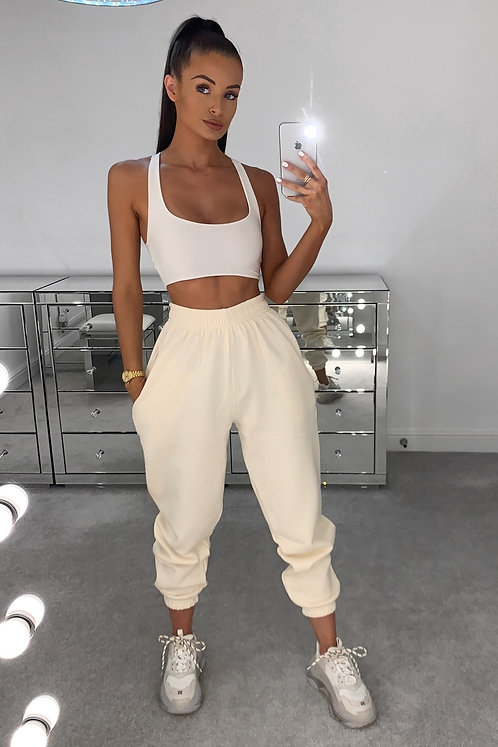 PIA Cream High Waisted Thick Joggers