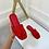 Thumbnail: ALEX Red Faux Suede Slip On Sandals (SALE)