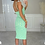 Thumbnail: WINNIE Lime Marl Cut Out Stretch Rib Midi Dress