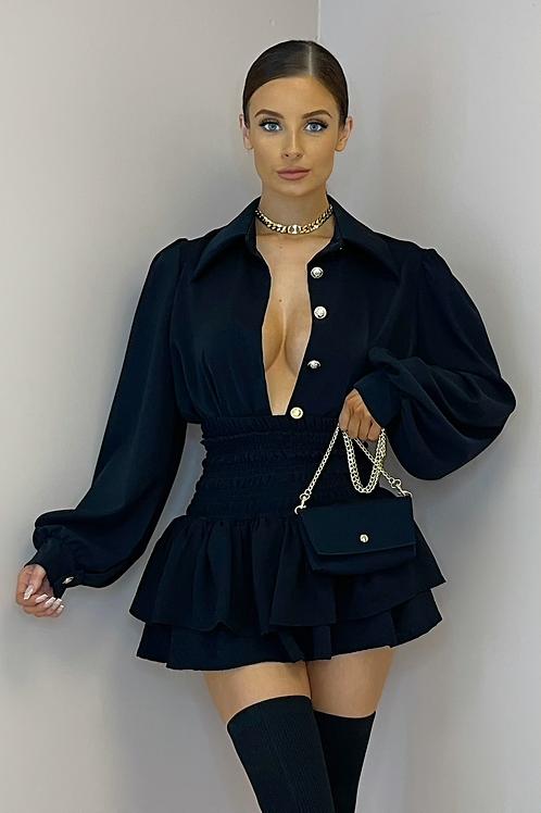 ILIANA Black Oversized Collar Gold Button Shirt (Bag Included)