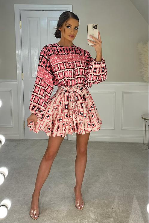 PALOMA Pink Ombré Pattern Belted Frill Dress