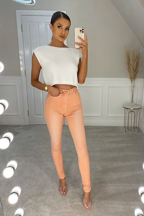 WILLA Peach High Waisted Skinny Jeans