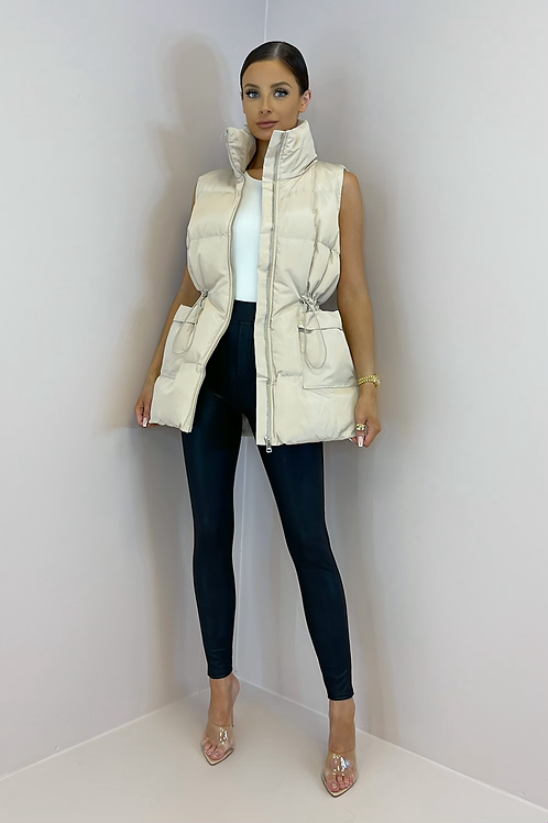 PEARL Champagne Cinched Waist Longline Puffer Gilet