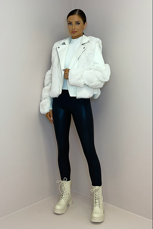 LYDIA White Vegan Leather & Fur Panelled Jacket