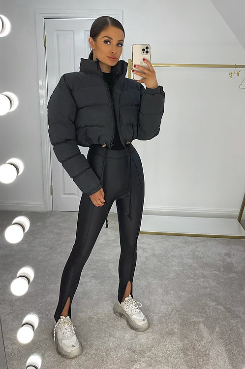 MATILDA Black Cropped Reflective Puffer Jacket