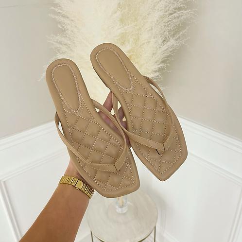 PAISLEY Caramel Quilted Flip Flops (SALE)
