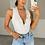 Thumbnail: LEONA White Premium Buttoned Stretch Rib Bodysuit