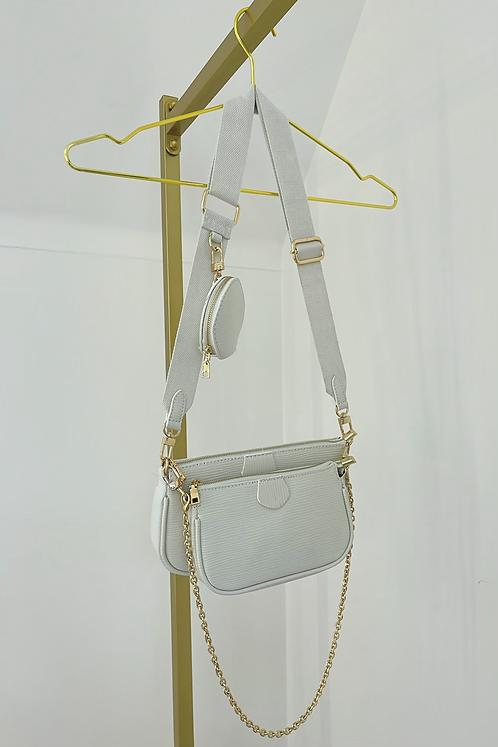 BLAKE White Multi Pocket Crossover Pouch Bag