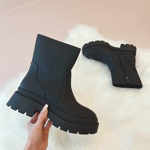 GEMMA Black Boots PU Chunky Boots