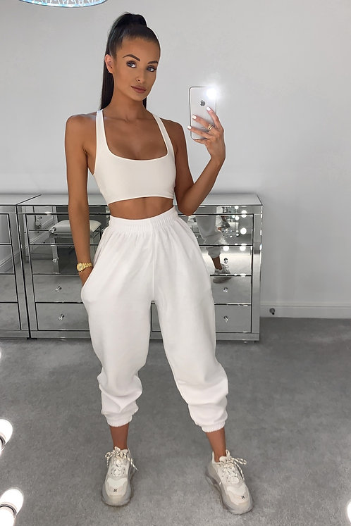 PIA White High Waisted Thick Joggers