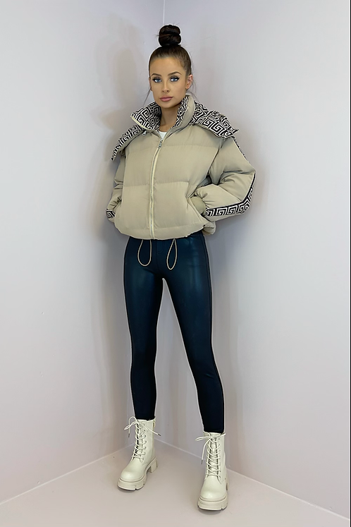 KIA Mocha Aztec Hooded Puffer Jacket
