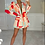 Thumbnail: CRYSTAL Red/Peach Patterned Oversized Blazer