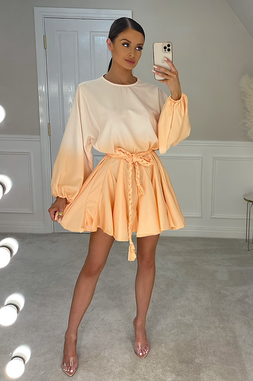 PALOMA Peach Ombré Belted Frill Dress