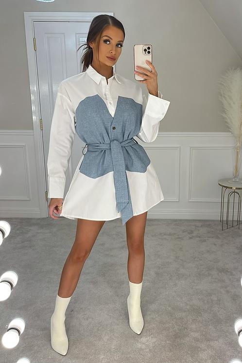 BLAIR Blue Denim Look Belted Shirt Dress (SALE)
