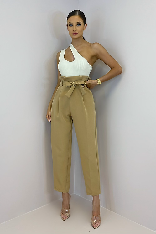 EVELYN Caramel Paperbag Belted Trousers