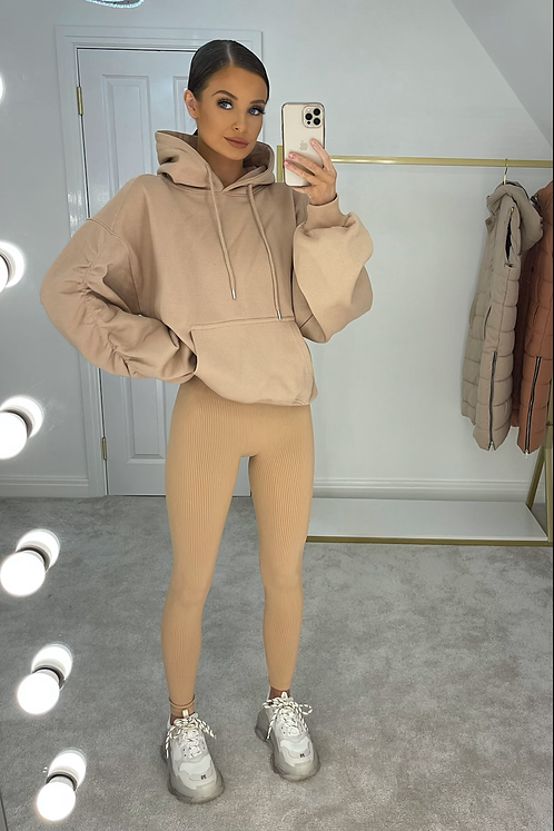 LORAL Nude Seamless Stretch Ribbed Leggings