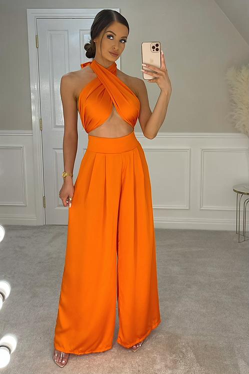 ELLA Orange Multiway Silky Palazzo Co Ord