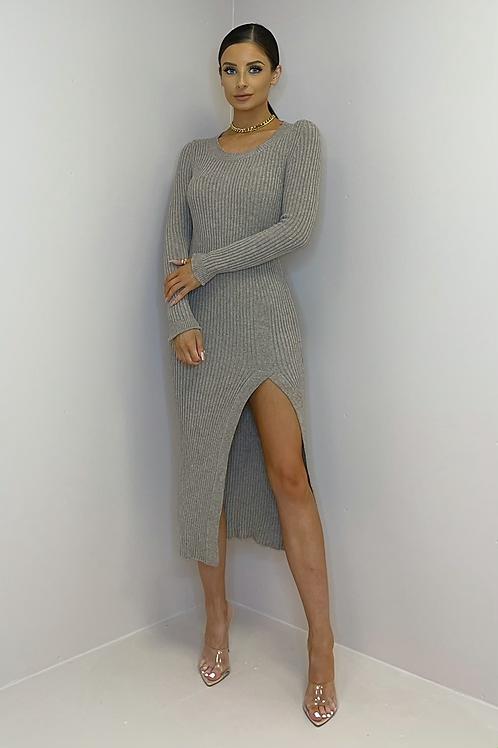 MIA Mauve Knit High Slit Midi Dress