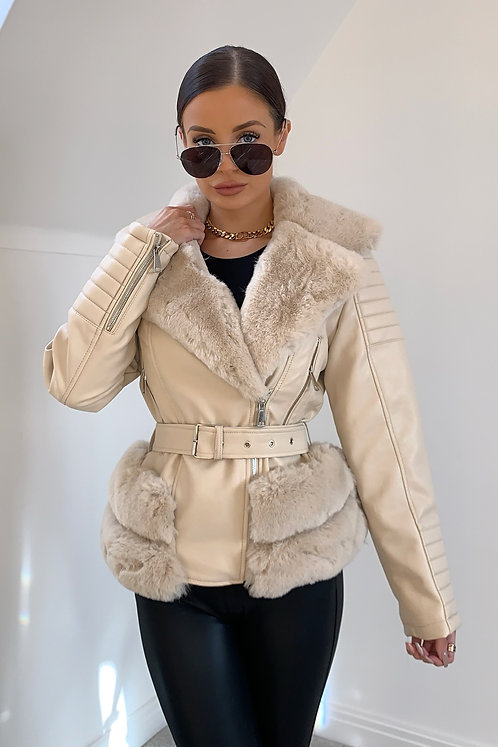 TAYLOR Cream Faux Fur & Leather Belted Jacket (SALE)
