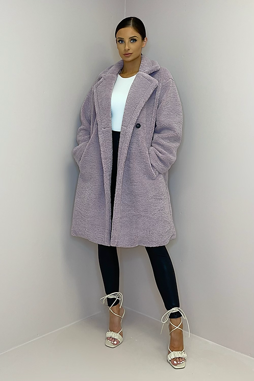 MILLIE Lilac Double Breasted Teddy Coat