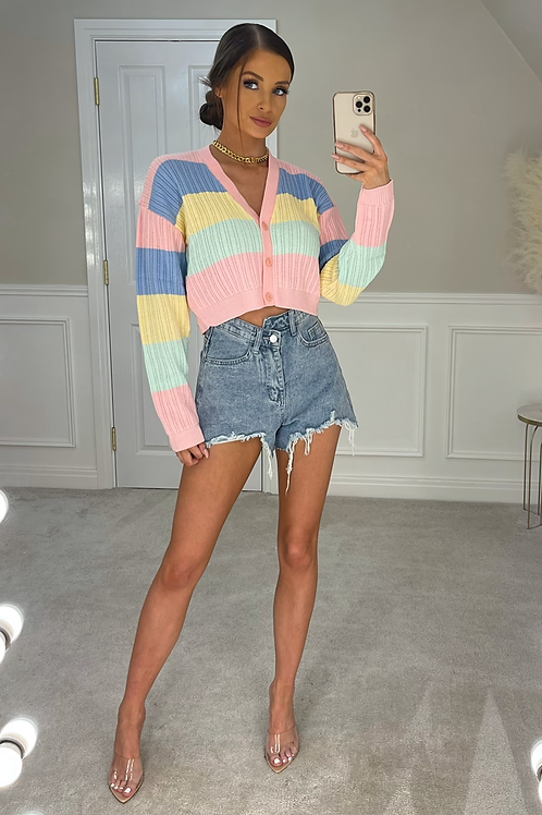 BRITTANY Pink Rainbow Cropped Cardigan