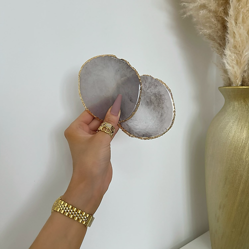 X2 Grey Marble Gold Trim Coasters