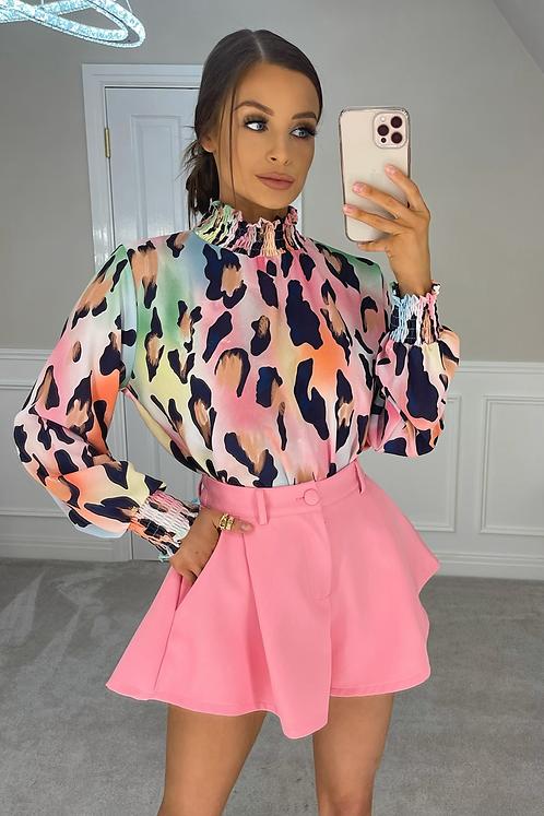 IMOGEN Pink Multi Leopard Chiffon Shirt