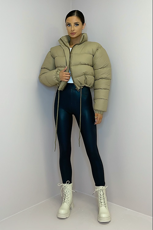 CHARLY Toffee Cropped Drawstring Puffer Jacket