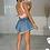 Thumbnail: CALI Light Blue Cinched Waist Denim Skort