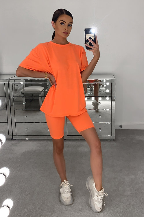 ELLE Flo Orange T Shirt & Cycle Shorts Set (SALE)