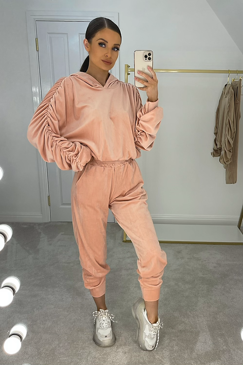 BRONWYN Pink Ruched Velour Tracksuit