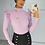 Thumbnail: ALICE Lilac Stretch Rib Gold Button Top