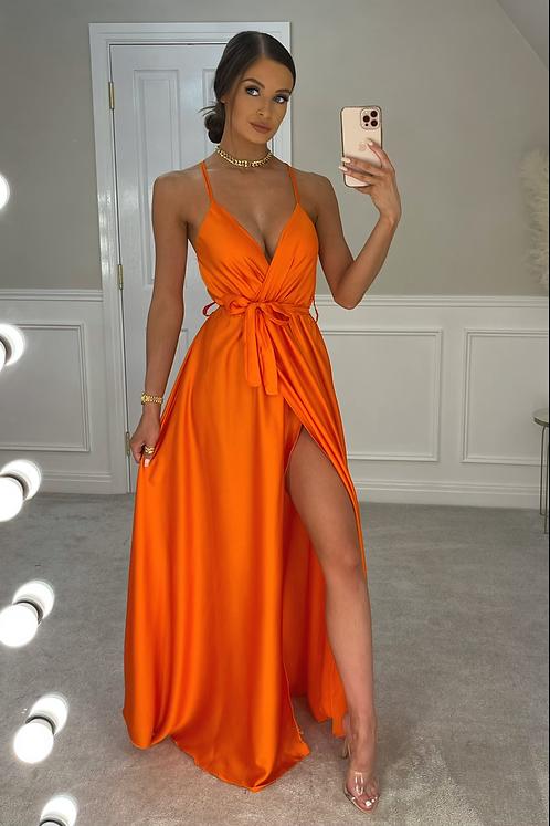 RAYNA Orange Silky Split Leg Maxi Dress