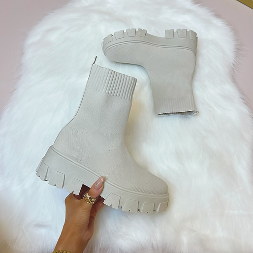 FLORENCE Light Beige Chunky Sock Boots