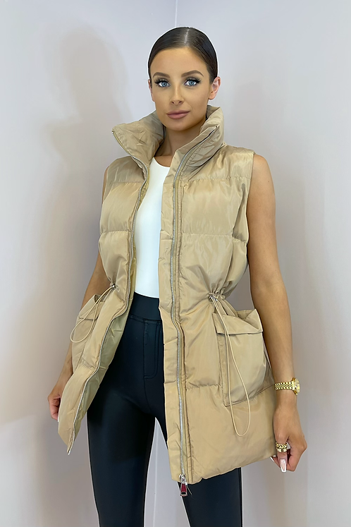 PEARL Biscuit Cinched Waist Longline Puffer Gilet
