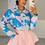 Thumbnail: LEAH Blue Tie Dye Colour Pop Shirt (SALE)