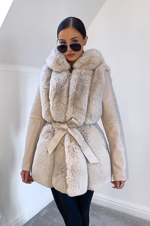 BRONTE Cream Thick Faux Fur & Leather Hooded Coat