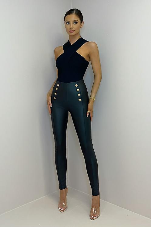 BELLA Black Faux Leather Button Leggings