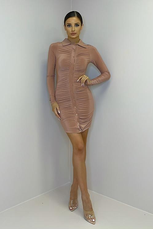 BAILEY Dusky Pink Slinky Button Down Dress