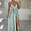 Thumbnail: RAYNA Teal Silky Split Leg Maxi Dress
