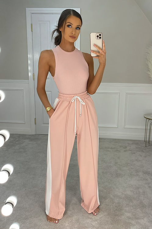 THEA Blush Pink High Waist Wide Leg Trousers