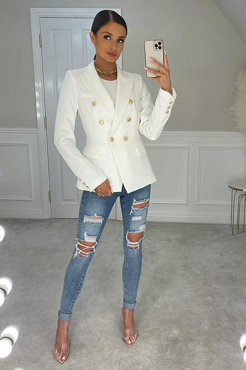ANNABELLA White Gold Buttoned Tailored Blazer