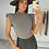 Thumbnail: ABIGAIL Khaki Shoulder Padded Knit Top
