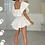 Thumbnail: ROBIN White Bardot Frill Shirt Mini Dress