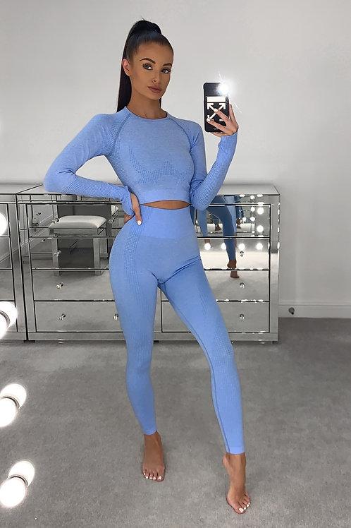 EVIE Sky Blue Long Sleeved Gym Set