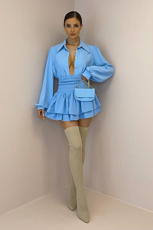 KENDRA Blue High Waisted Gypsy Skirt