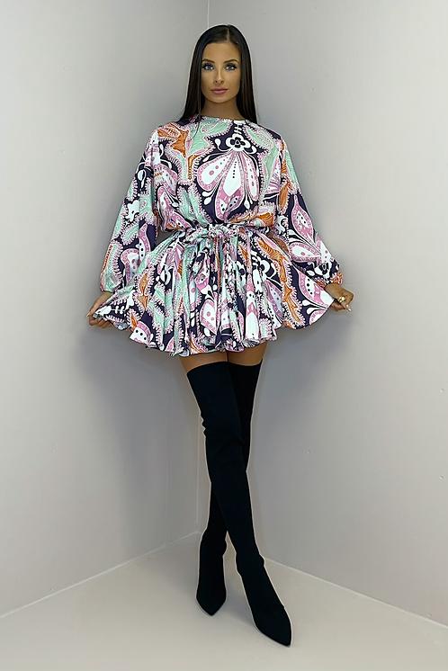 PALOMA Purple & Mint Belted Frill Dress